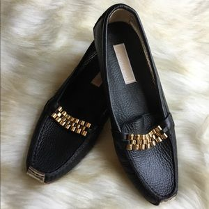 Michael Kors black/gold flat loafers shoes